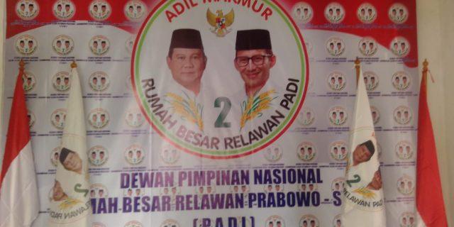 Relawan Prabowo Sandi ( PADI ) Bentuk Kepengurusan DPW Jawa Barat