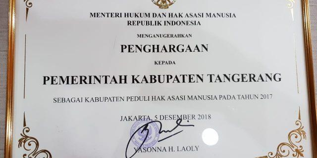 Pemkab Tangerang Raih Penghargaan Peduli HAM