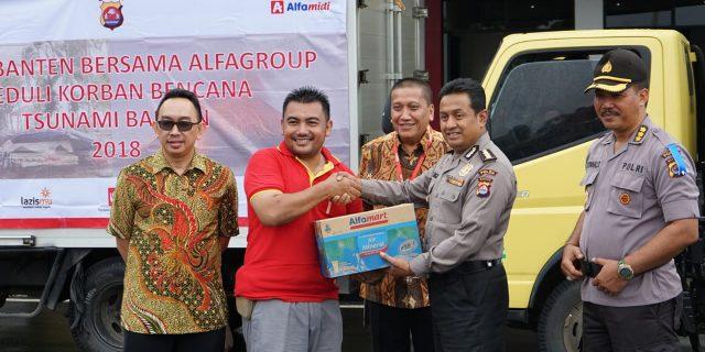 Polda Banten Distribusikan Bantuan dari perusahaan Alfamidi/alfamart