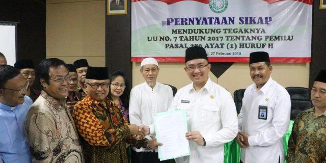 Para Tokoh Agama Provinsi Banten, Menyatakan Sikap Untuk Wujudkan Pemilu Damai 2019