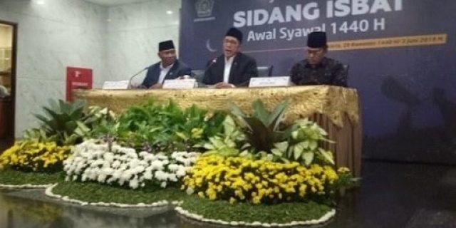 Pemerintah menetapkan 1 Syawal 1440 H. jatuh Pada Rabu 5 Juni 2019
