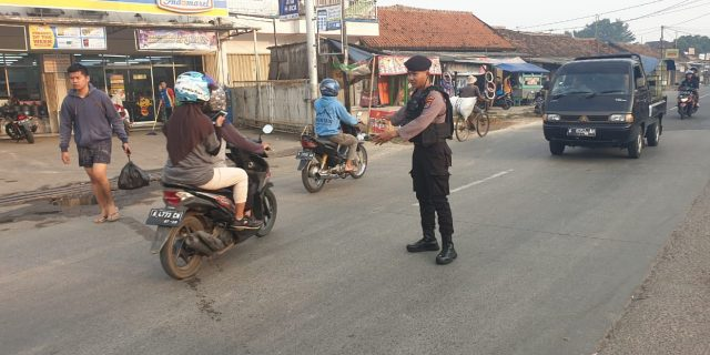 Direktorat Samapta Polda Banten Inten Pengaturan Lalu Lintas Pagi Hari