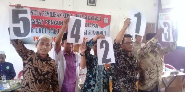 Penetapan No Urut Calon Kepala Desa Sukaharja Dilakukan Secara Undi