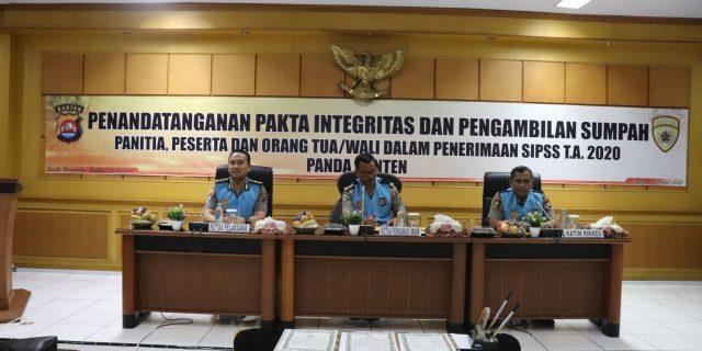 Polda Banten gelar Penandatanganan Pakta Integritas Penerimaan SIPSS Polri T.A 2020