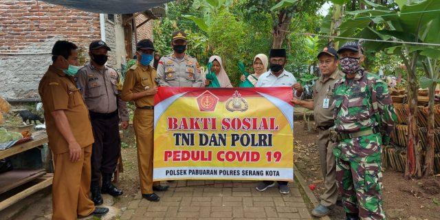 Polsek Pabuaran dan TNI, Bhakti Sosial Peduli Dampak Covid 19