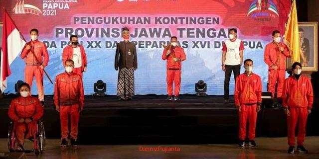 Gubernur Jateng Memberi Semangat Para Atlet Di PON XX Dan Peparnas XVI